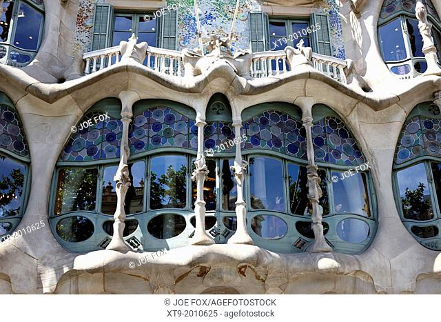 architectural details and windows of casa batllo modernisme style building in Barcelona Catalonia Spain