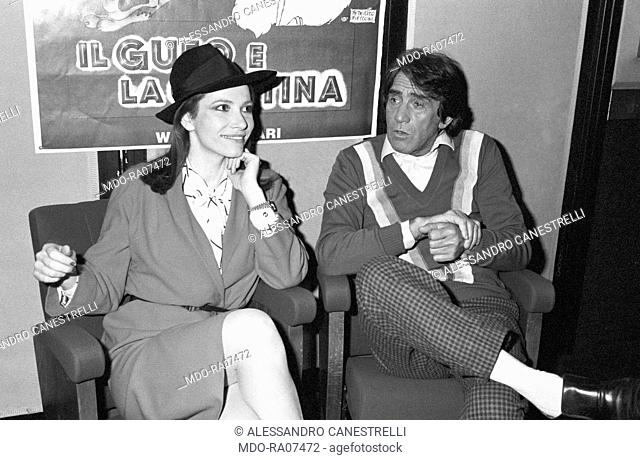 Italian actor, comedian and TV host Walter Chiari (Walter Annichiarico) sitting with Italian actress Ivana Monti (Maria Ivana Monti) at the premiere of the...