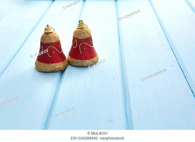 Christmas decoration on old grunge wooden board. Wood board table