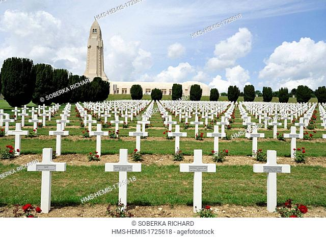 France, Meuse, Douaumont, battle of Verdun, ossuary of Douaumont, graves aligned before the tower overlooking the national necropolis