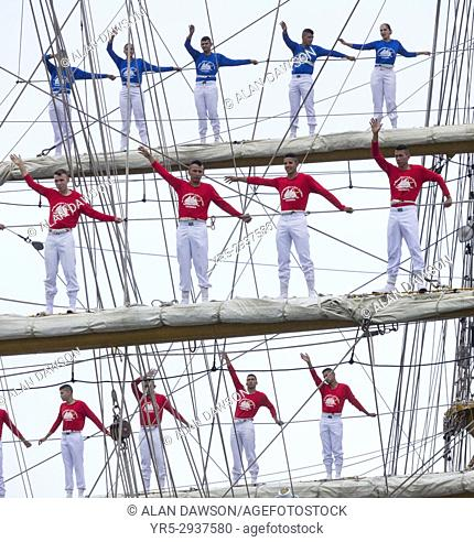 Crew of Colombian navy training ship, ARC Gloria, climb the rigging as the ship departs Las Palmas on Gran Canaria as the ship sets sail for Colombia following...