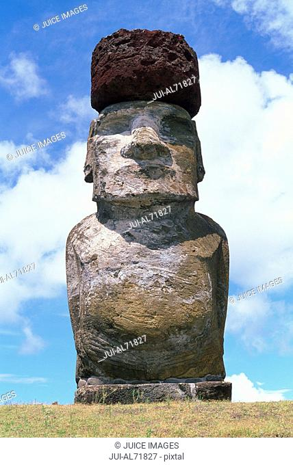 View of a moai statue against blue sky, Chile, Easter Island (Rapa Nui)