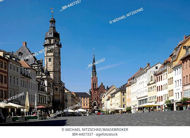 Market place with City Hall and Brüderkirche Church, Altenburg, Thuringia, Germany