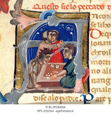 Dice players, Miniature only Initial 'A', dice players, with two-faced Fortune standing in the background Image taken from Lo Libro de Multi Belli Miraculi