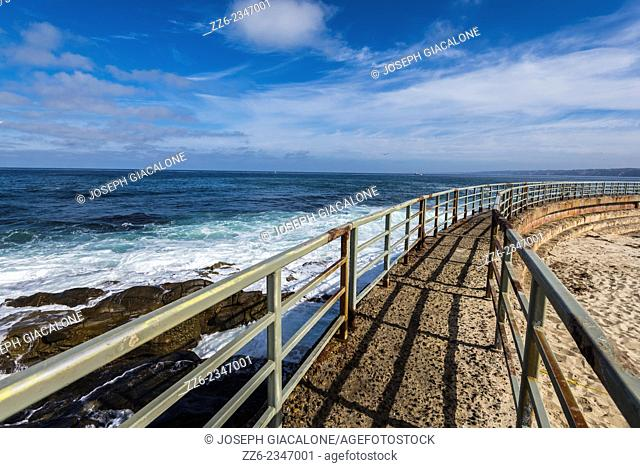 View of the ocean and the seawall at the Children's Pool. La Jolla, California, United States
