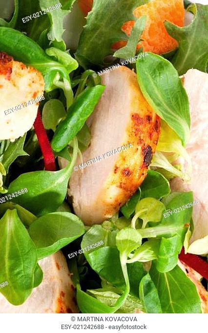 Delicious chicken salad background