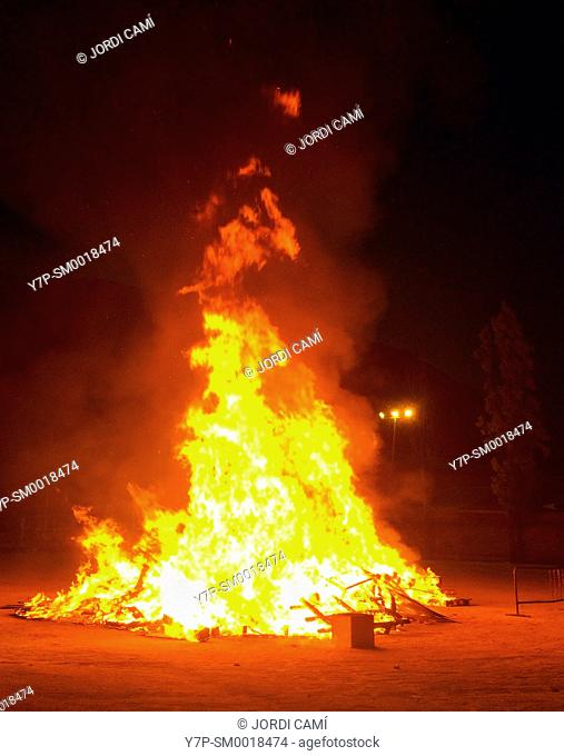 Bonfire to celebrate Saint John.Capellades.Anoya.Barcelona province.Catalonia.Spain