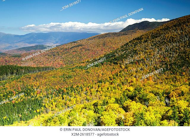 Scenic view from the Nubble (Haystack Mountain) in Bethlehem, New Hampshire USA during the autumn months