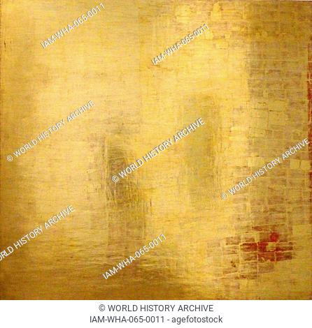 Message c.1959 (Mensajo) by Mathias Goeritz 1915-1990. Born Germany, worked in Mexico. Gold leaf on plywood pane