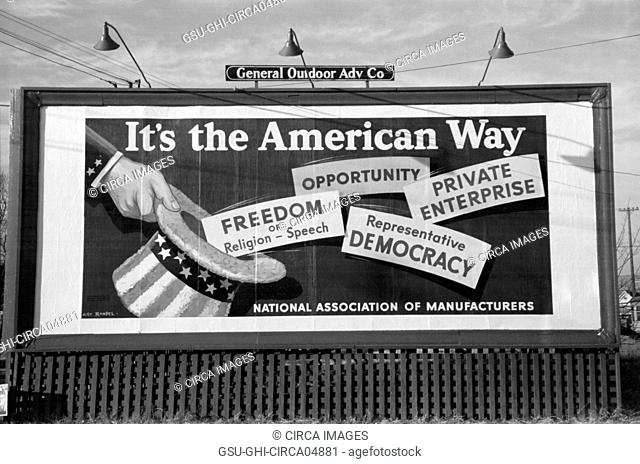 Billboard, National Association of Manufacturers, Oklahoma City, Oklahoma, USA, Russell Lee, Farm Security Administration, January 1940