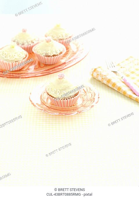 Plate of decorated cupcakes