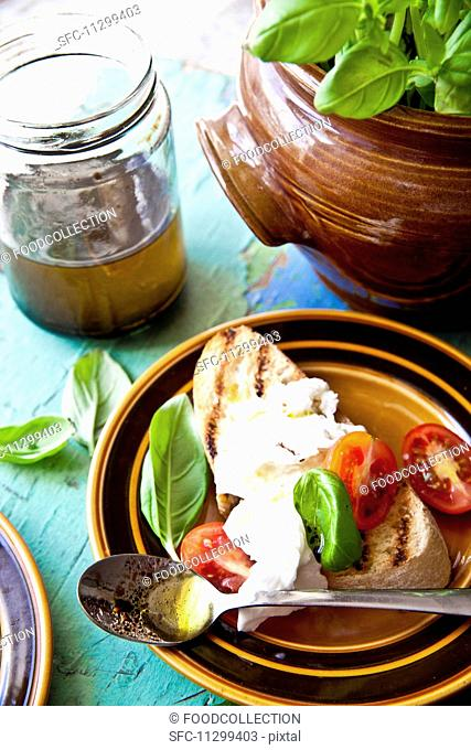 Bruschetta with tomatoes, mozzarella, basil, olive oil and balsamic vinegar