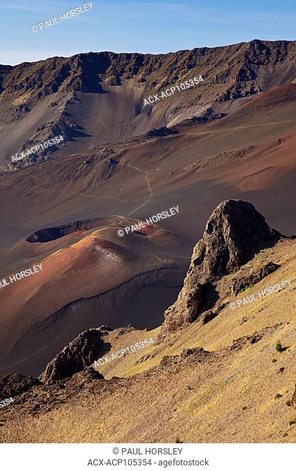 Cinder cone (Pu'u) and hiking trail inside Haleakala crater, Haleakala National Park, Maui, Hawaii