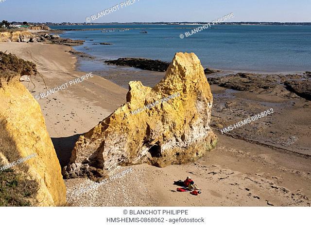 France, Morbihan, Penestin, Plage de la Mine d'Or, the golden cliffs of the beach
