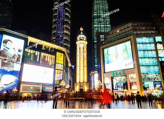 Chongqing, China - The night view of Jiefangbei walking street during the Spring Festival