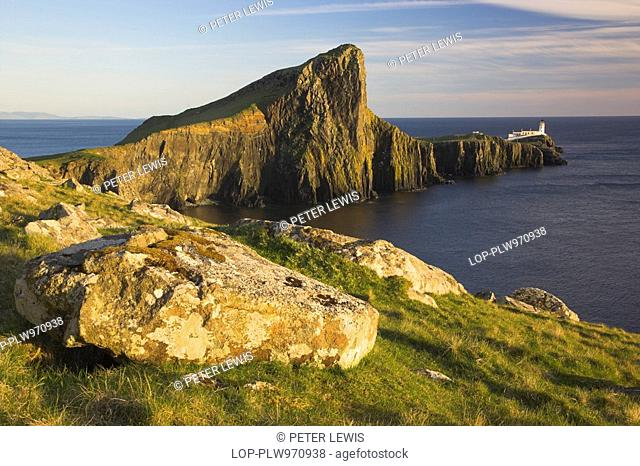 Scotland, Highland, Neist Point, Neist Point and Lighthouse on the most westerly point on the Isle of Skye
