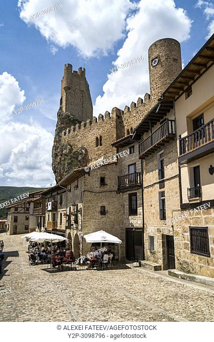 Castle dominationg town of of Frías, province of Burgos, Castile and Leon, Spain