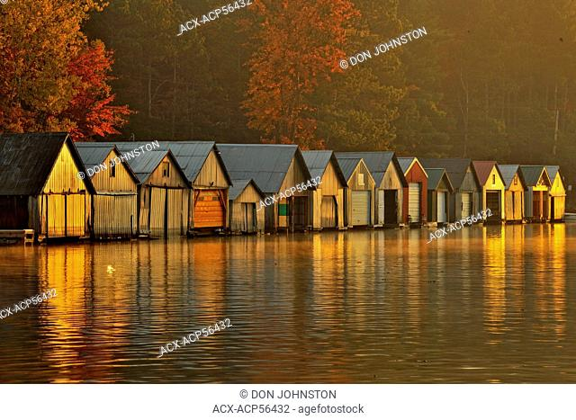 Boathouses at dawn, Greater Sudbury Panache, Ontario, Canada