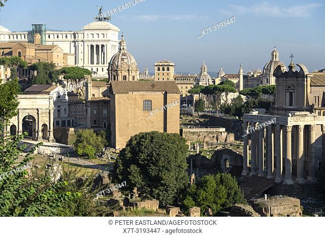 Looking across The Roman Forum towards the Temple of Antoninus and Faustina, now the church of San Lorenzo in Miranda on the right