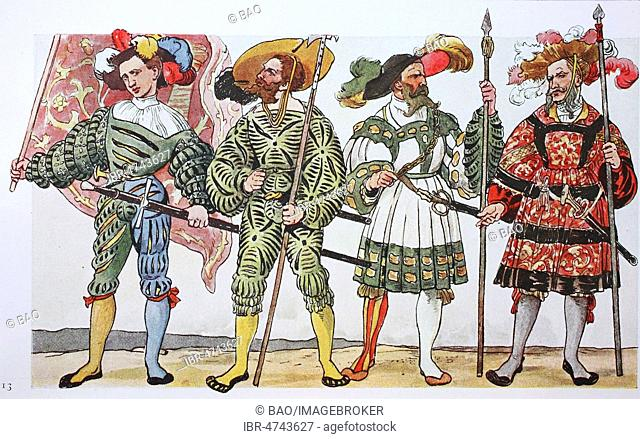 Clothing, fashion of the Landsknechts in Germany around 1500-1540, the slit-costume, illustration, Germany