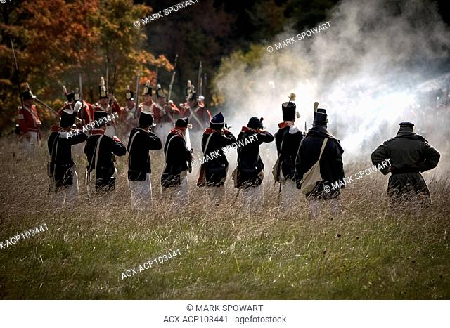 London, Ont., Canada. Re-enactors portray a battle as part of the war of 1812 is in Southwestern Ontario Canada. Over the course of the weekend