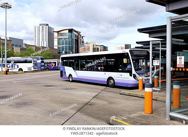Buchanan Street Bus Station, Glasgow with a single Decker bus parked at a platform. Scotland