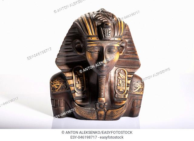 Tutankhamun, isolated portrait sculpture of an Egyptian pharaoh