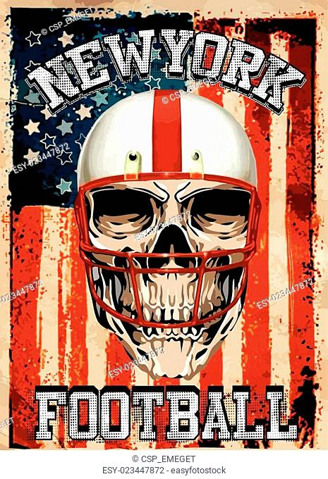 American football Skull Vintage vector print for boy sportswear in custom colors