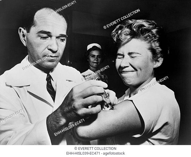 A nurse at Montefiore Hospital receives a flu vaccination in 1957. The 1956-58 Asian Flu was a category 2 flu pandemic that originated in China in early 1956