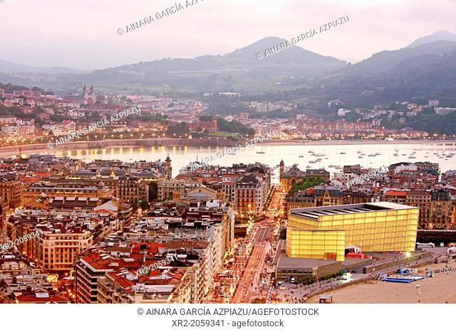 Aerial view of Donostia - San Sebastian, Basque Country, Spain