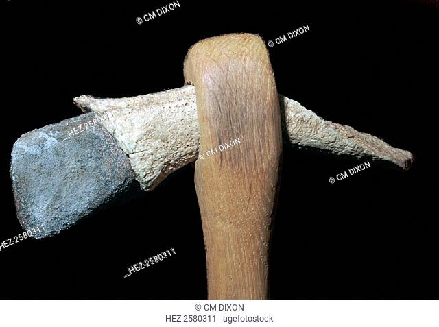 A neolithic stone axe in antler socket and wooden haft (wood is modern), from the Louvre's collection