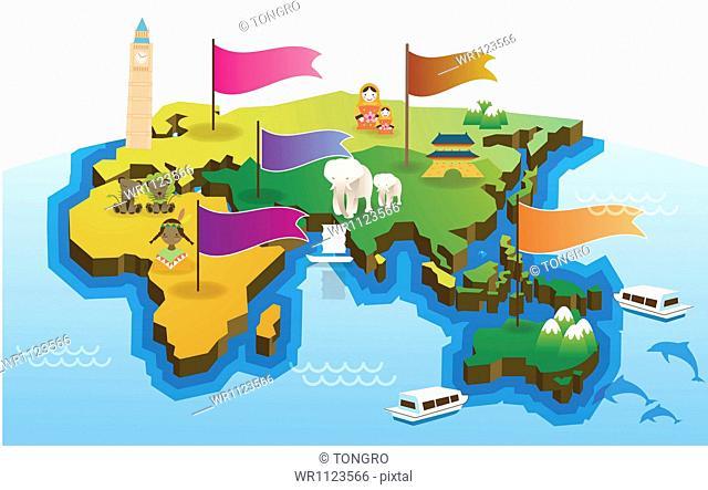 an illustration of the eastern hemisphere
