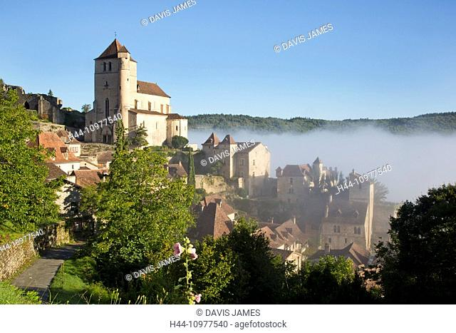 Saint-Cirq-Lapopie, Cahors, Lot, Midi-Pyrenees, France, commune, village, classic, beautiful, pretty, early morning, low mist, misty, fog, foggy, atmosphere