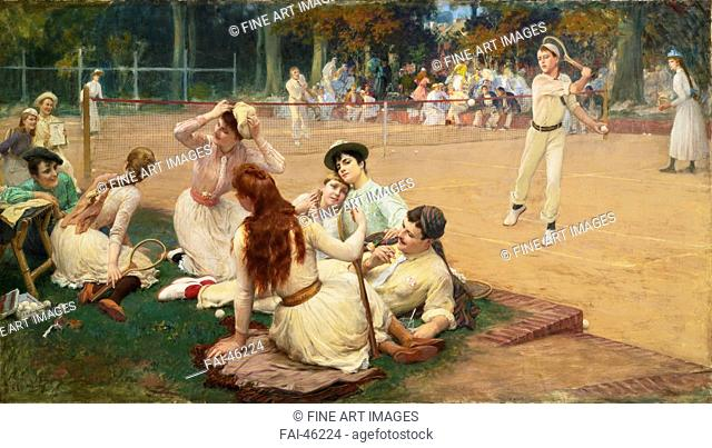 Lawn Tennis Club by Bridgman, Frederick Arthur (1847-1928)/Oil on canvas/Orientalism/1891/The United States/Private Collection/100x177