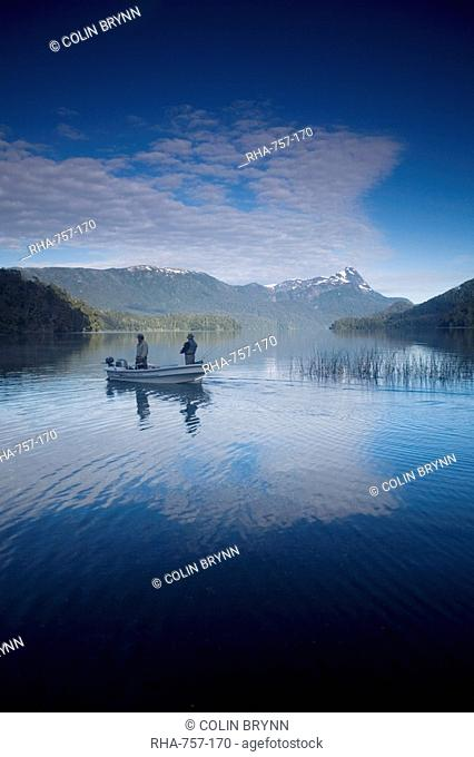 Fishermen, Lago Espejo, Siete Lagos region, Nahuel Huapi National Park, Argentina, South America