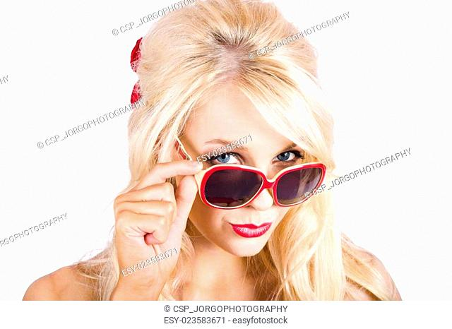 Blond woman in sunglasses