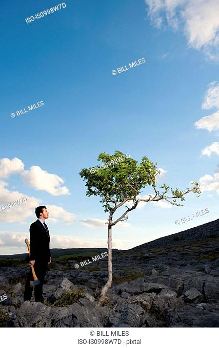 Businessman holding axe in remote landscape