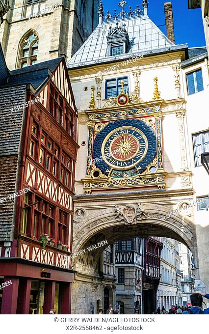 The Renaissance Gros Horologe is situated in the Rue du Gros Horologe in Rouen, Normandy. Its original movement dates back to 1389