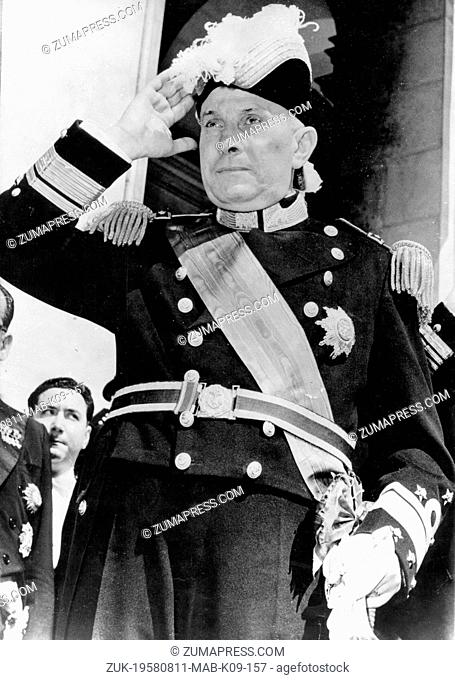 Aug. 11, 1958 - Lisbon, Portugal - Admiral AMERICO TOMAS served as the 13th President of Portugal and was also Minister for the Navy