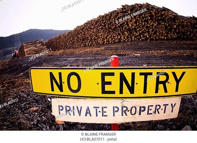 No Entry sign outside lumberyard