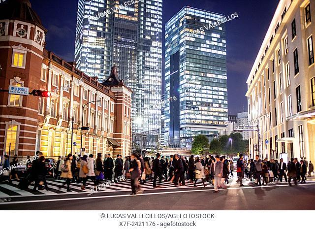 Crosswalk in Marunouchi, at left Tokyo Station, Marunouchi, Tokyo, Japan