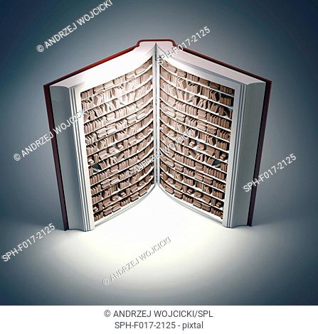 Bookshelves in book, conceptual illustration