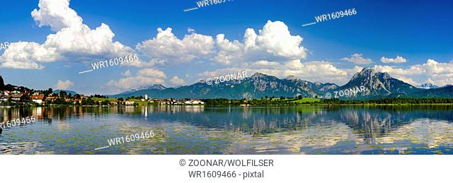 panorama landscape with lake Hopfensee in Bavaria