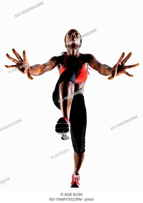 Female athlete preparing to Run