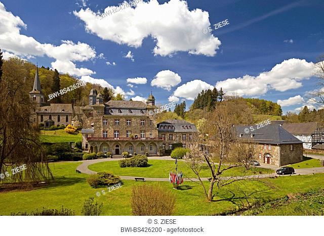 Gimborn Castle with palace garden, Germany, North Rhine-Westphalia, Bergisches Land, Marienheide