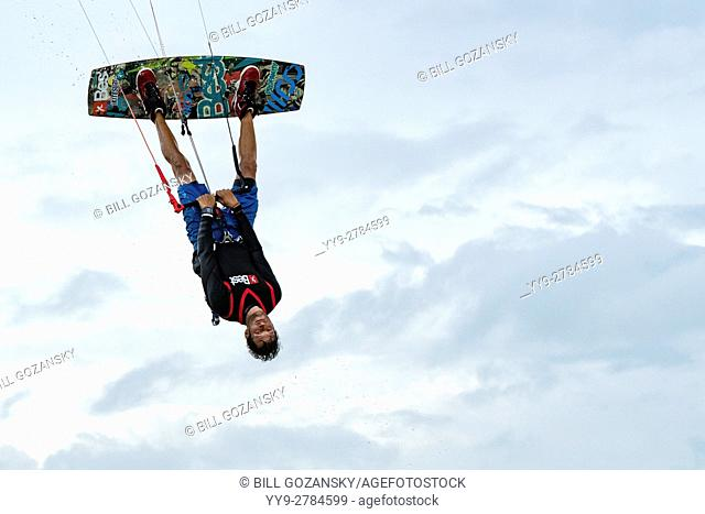 Professional Kitesurfer Ben Jopling at Veterans Memorial Park - Little Duck Key, Florida, USA