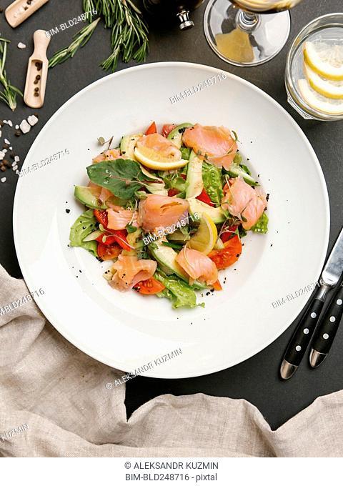 Seafood salad on plate