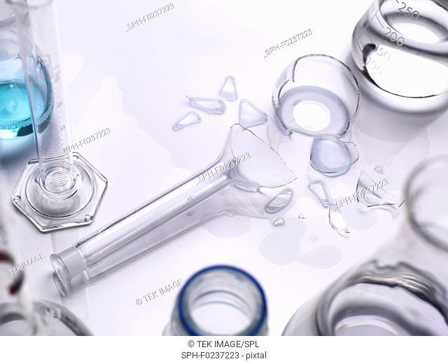Broken laboratory glassware