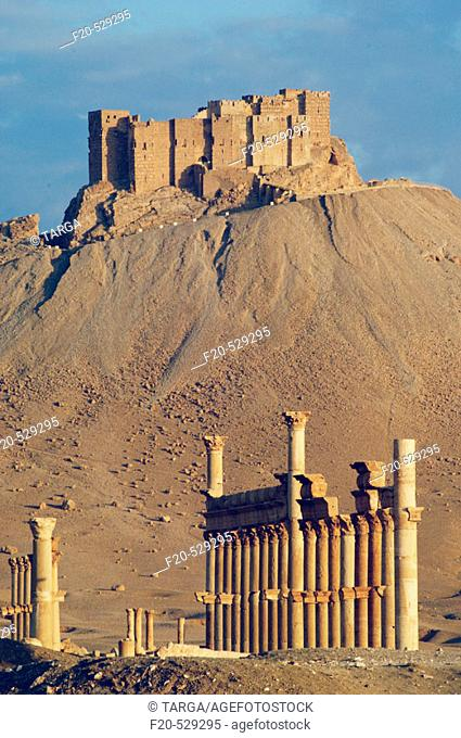 Qalaat ibn Maan castle (17th Century) above ruins of Palmyra. Syria