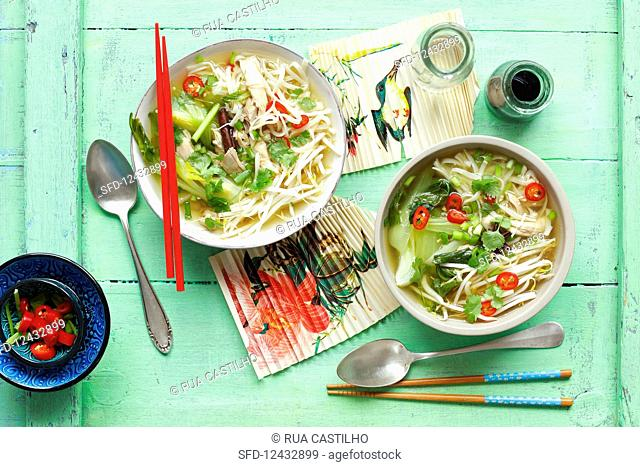 Chicken broth with ramen, bok choy, sprouts and herbs (Asia)